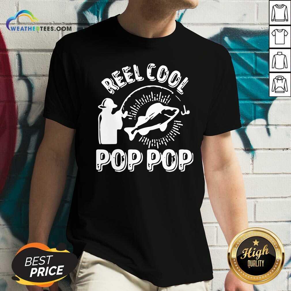 Reel Cool Pop Pop Shirt Fisherman Christmas Fathers Day V-neck - Design By Weathertees.com
