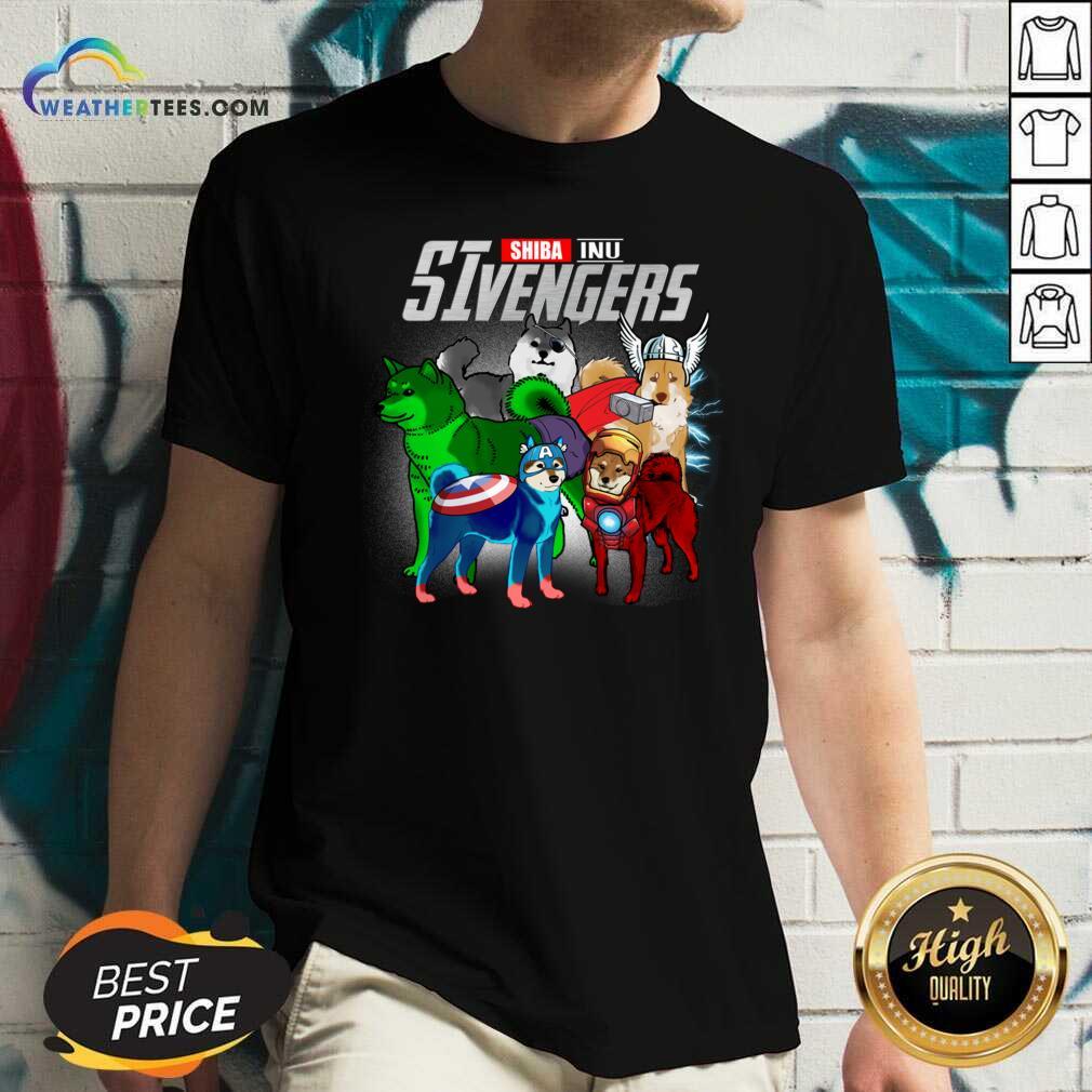 Shiba Inu Marvel Avengers SIvengers V-neck - Design By Weathertees.com
