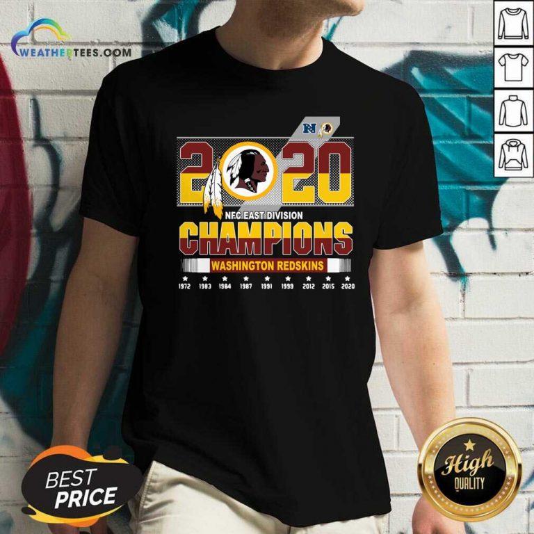 2020 NFC East Division Champions Washington Redskins V-neck - Design By Weathertees.com