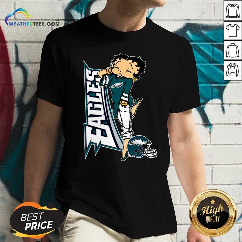 Betty Boop Philadelphia Eagles Football V-neck - Design By Weathertees.com