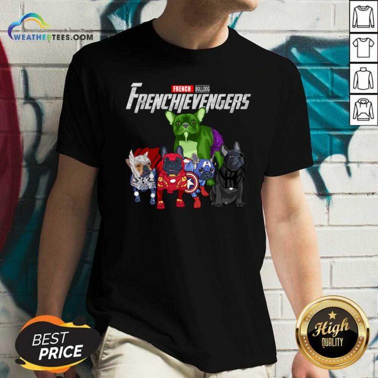 Marvel Avengers French Bulldog Frenchievengers V-neck - Design By Weathertees.com