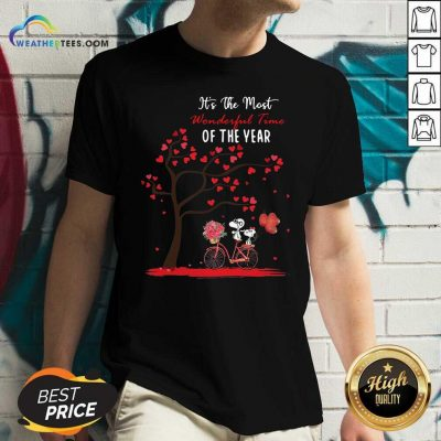Snoopy And Girlfriend Its The Most Wonderful Time Of The Year Valentines Day V-neck - Design By Weathertees.com