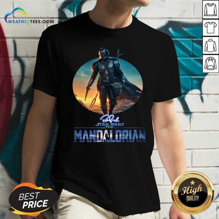 The Mandalorian Star Wars Signature Sunset V-neck - Design By Weathertees.com