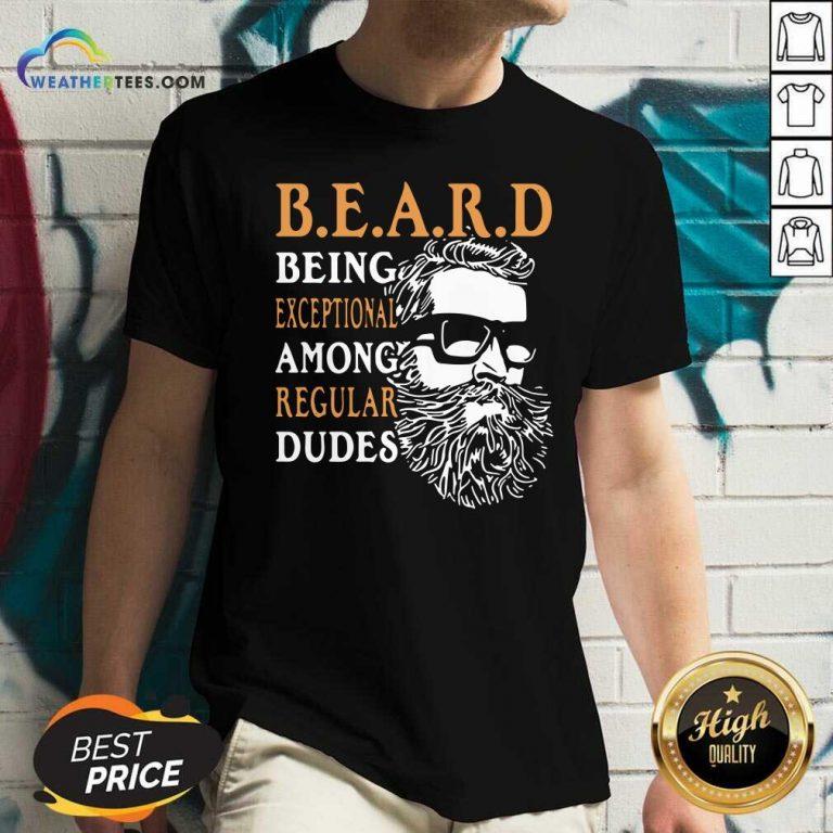 Vintage Being Exceptional Among Regular Dudes Beard V-neck - Design By Weathertees.com