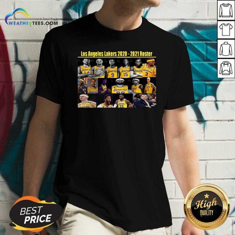 Los Angeles Lakers 2020 2021 Roster V-neck - Design By Weathertees.com
