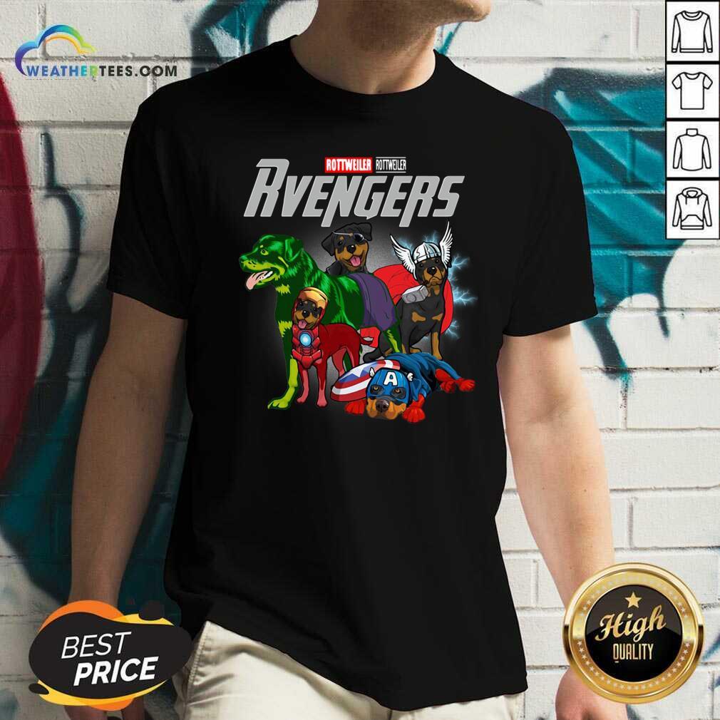 Marvel Avengers Rottweiler Rvengers V-neck - Design By Weathertees.com