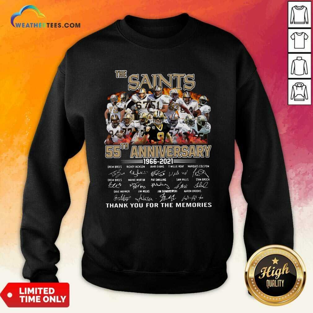 The Saints 55th Anniversary 1966 2021 Signatures Thank Sweatshirt - Design By Weathertees.com
