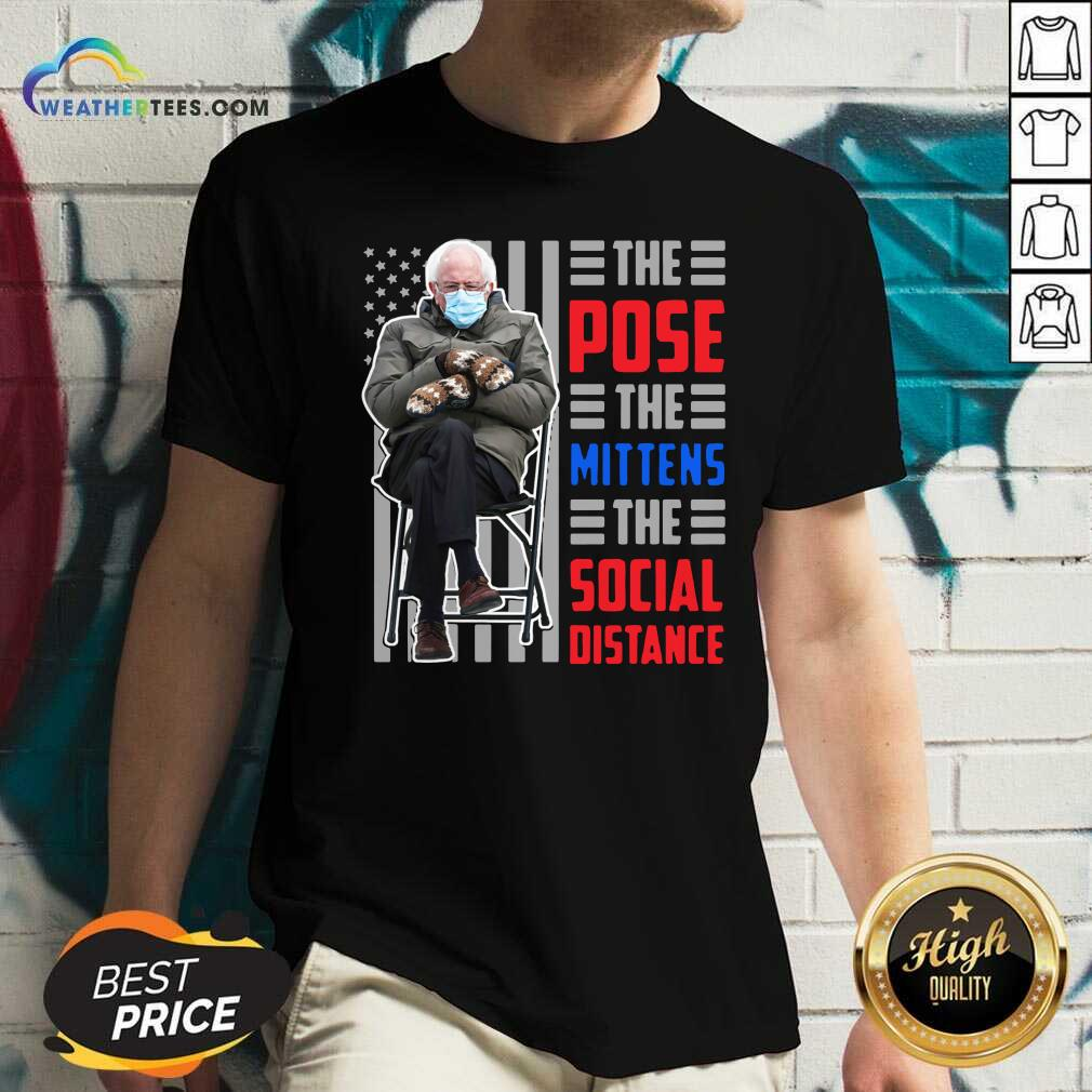 Bernie Sanders The Pose The Mittens The Social Distance V-neck - Design By Weathertees.com