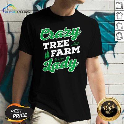 Crazy Tree Farm Lady Christmas Tree Merry Xmas V-neck - Design By Weathertees.com
