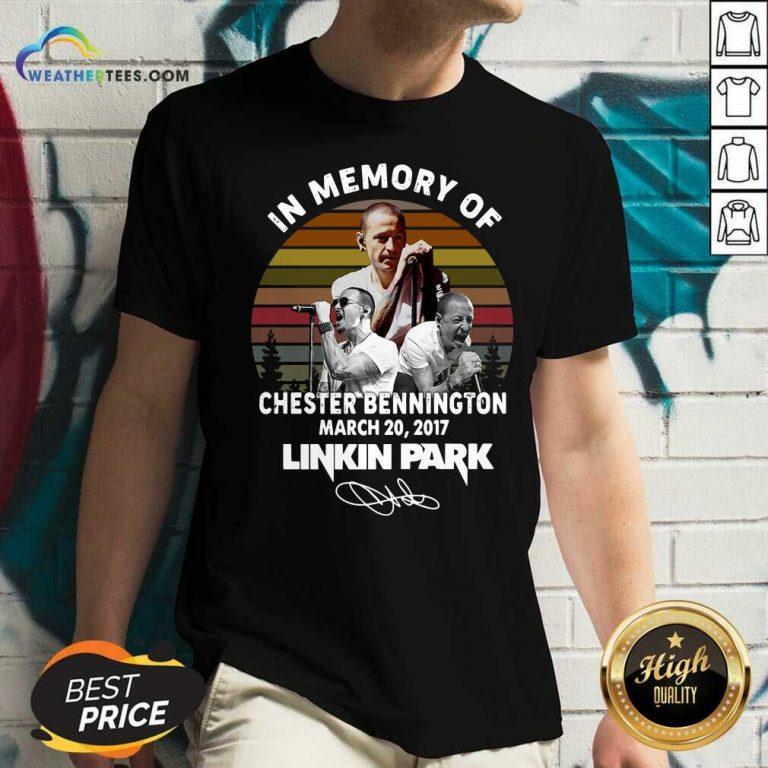In Memory Of Chester Bennington July 20 2017 Linkin Park Signature Vintage V-neck - Design By Weathertees.com