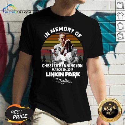 In Memory Of Chester Bennington March 20 2017 Linkin Park Signature Vintage Retro V-neck - Design By Weathertees.com