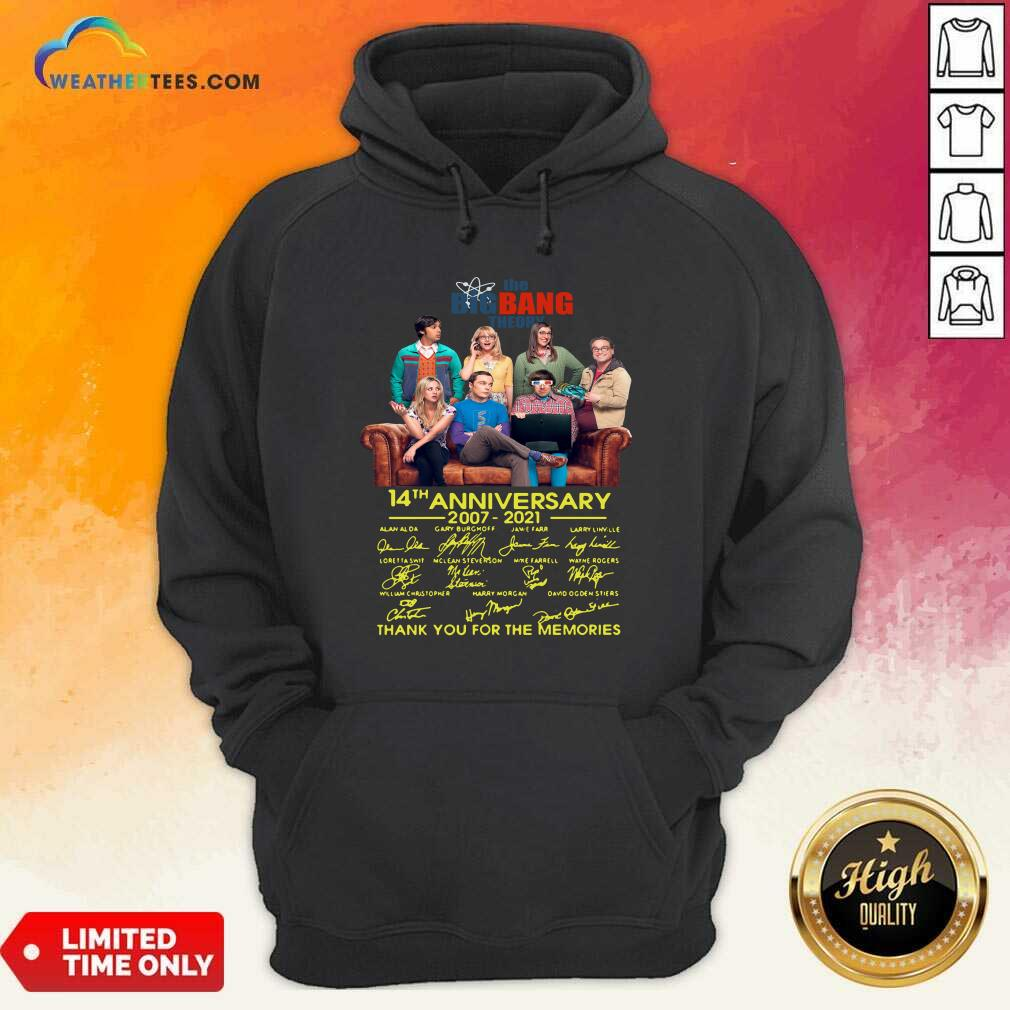 The Bigbang Theory 14th Anniversary 2007 2021 Signatures Thank For The Memories Hoodie - Design By Weathertees.com