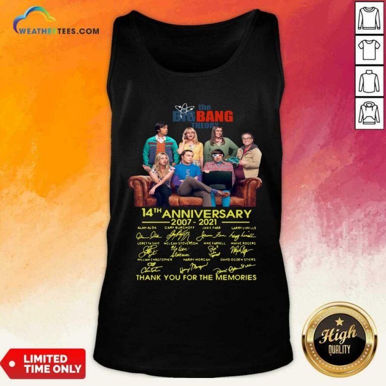 The Bigbang Theory 14th Anniversary 2007 2021 Signatures Thank For The Memories Tank Top - Design By Weathertees.com