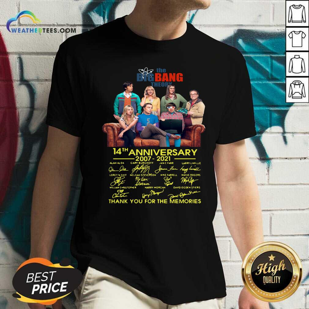 The Bigbang Theory 14th Anniversary 2007 2021 Signatures Thank For The Memories V-neck - Design By Weathertees.com