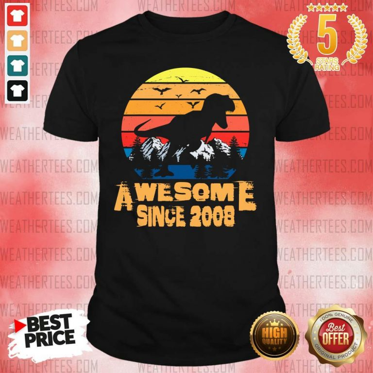 Vintage Awesome Since 2008 13 Year Old 13th Birthday Gift For Dinosaur Boy Shirt - Design By Weathertees.com