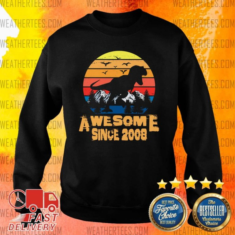 Vintage Awesome Since 2008 13 Year Old 13th Birthday Gift For Dinosaur Boy Sweater - Design By Weathertees.com