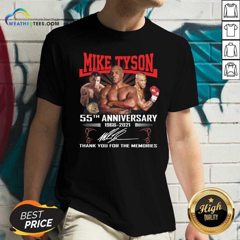 Mike Tyson 55TH 1966 2021 Signature Thank You For The Memories V-neck - Design By Weathertees.com