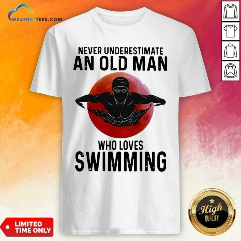 Never Underestimate An Old Man Who Loves Swimming The Moon Shirt - Design By Weathertees.com
