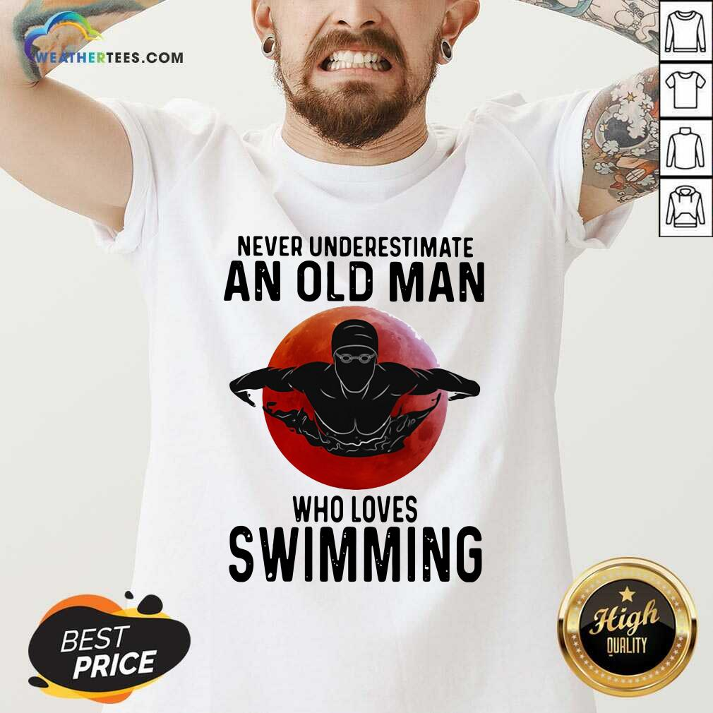 Never Underestimate An Old Man Who Loves Swimming The Moon V-neck - Design By Weathertees.com
