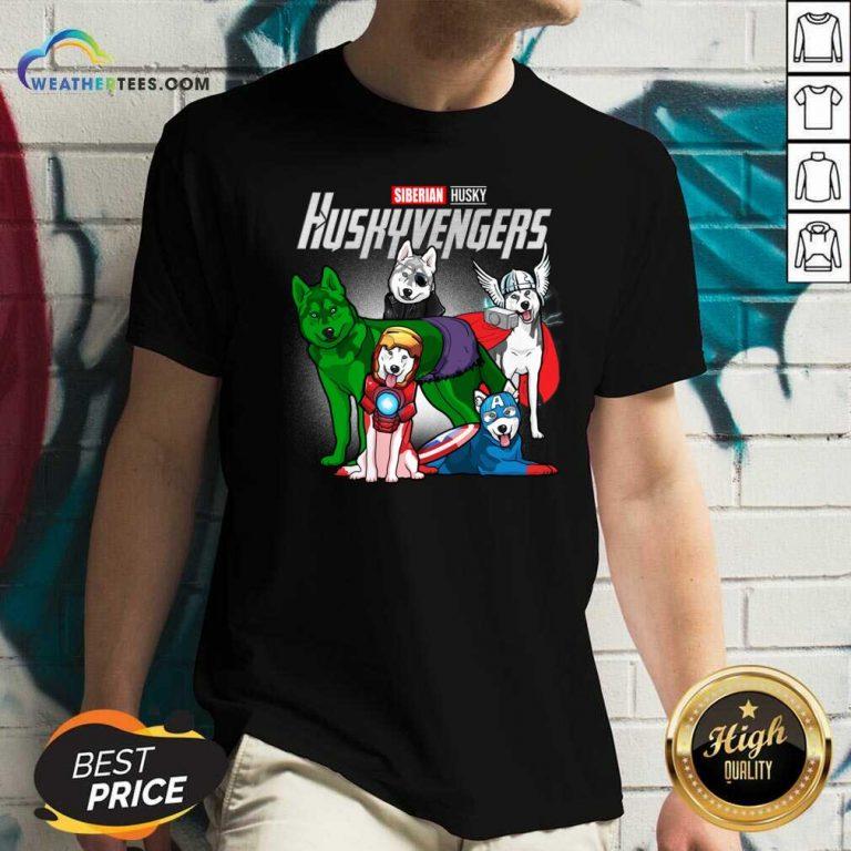 Siberian Husky Marvel Avengers Huskyvengers V-neck - Design By Weathertees.com