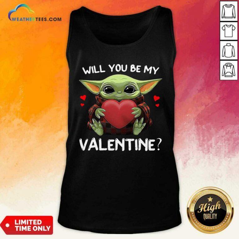 Baby Yoda Hug Heart Will You Be My Valentine Tank Top - Design By Weathertees.com