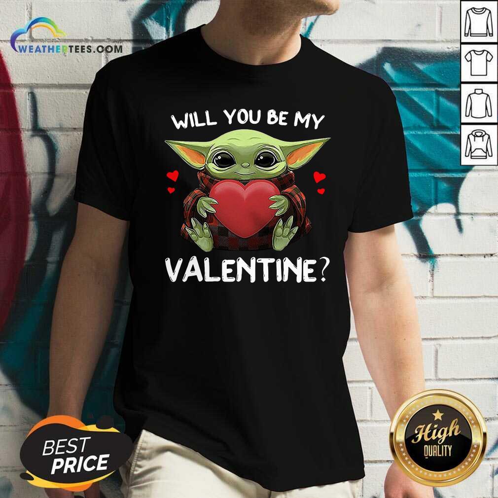 Baby Yoda Hug Heart Will You Be My Valentine V-neck - Design By Weathertees.com