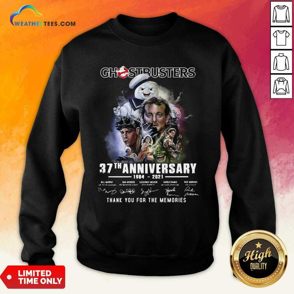 Ghostbusters 37th Anniversary Thank You For The Memories Signatures Sweatshirt - Design By Weathertees.com