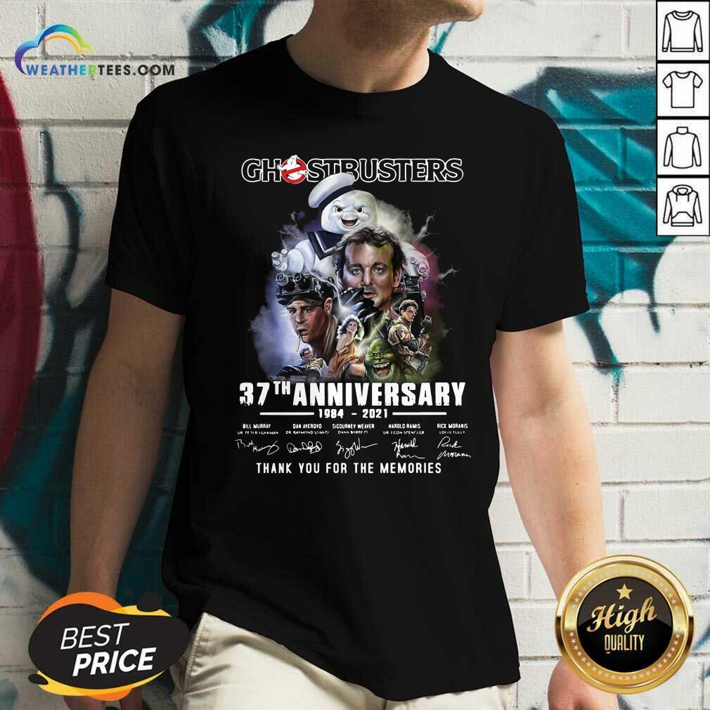 Ghostbusters 37th Anniversary Thank You For The Memories Signatures V-neck - Design By Weathertees.com