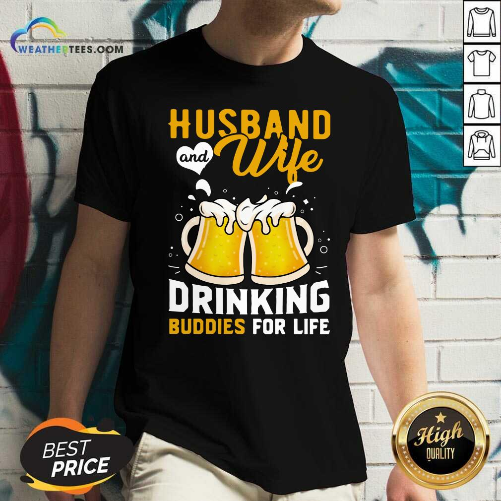 Husband And Wife Drinking Buddies For Life Beer V-neck - Design By Weathertees.com