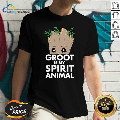 Baby Groot Is My Spirit Animal V-neck - Design By Weathertees.com
