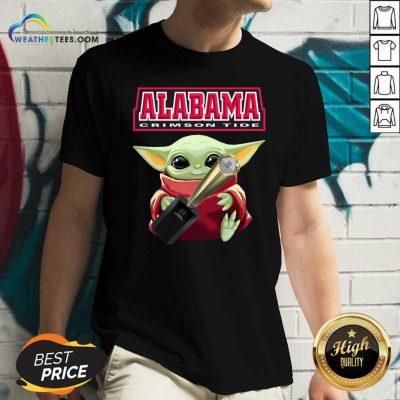 Baby Yoda Alabama Crimson Tide V-neck - Design By Weathertees.com