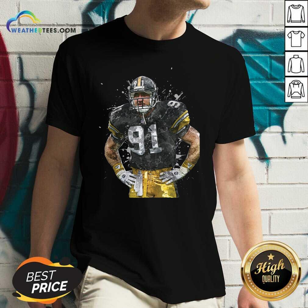 Pittsburgh Steelers Football Player 91 Nfl Playoffs V-neck - Design By Weathertees.com