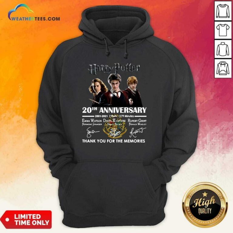 Harry Potter 20th Anniversary 2001 2021 7 Parts 1179 Minutes Thank You For The Memories Signatures Hoodie - Design By Weathertees.com