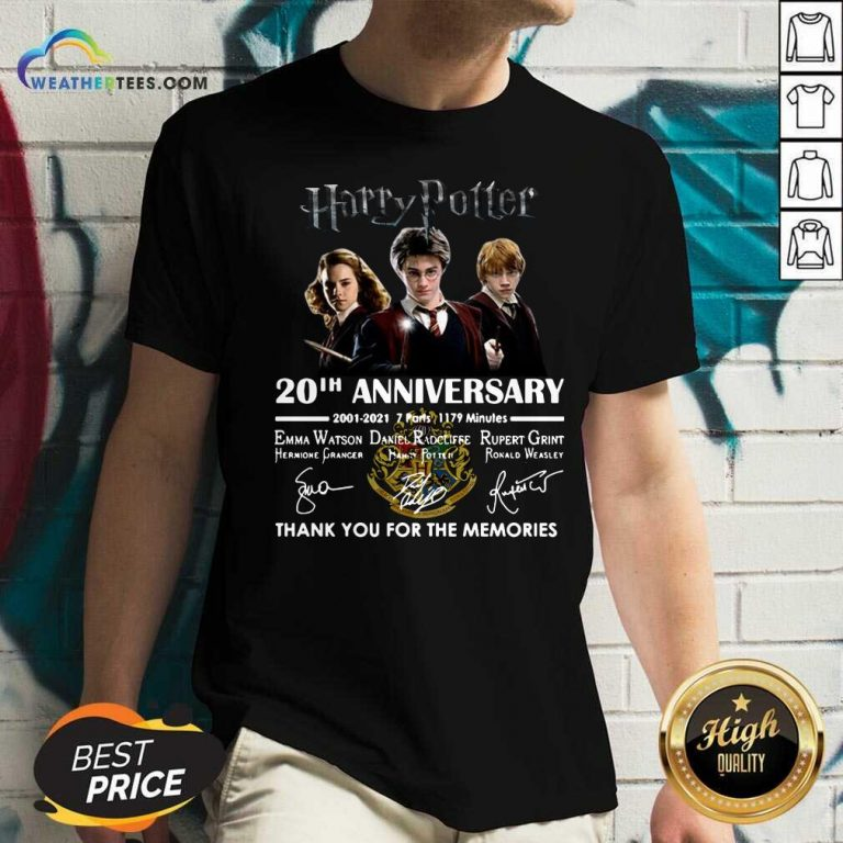 Harry Potter 20th Anniversary 2001 2021 7 Parts 1179 Minutes Thank You For The Memories Signatures V-neck - Design By Weathertees.com