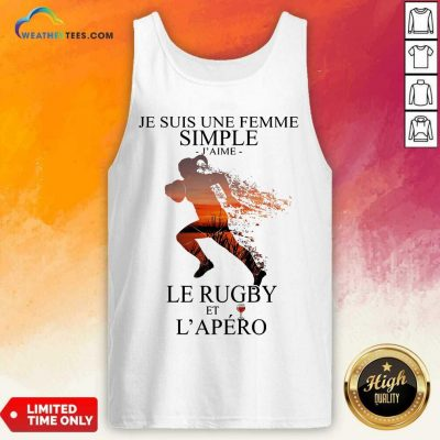Je Suis Une Femme Simple Quote Le Rugby Sunset Tank Top - Design By Weathertees.com