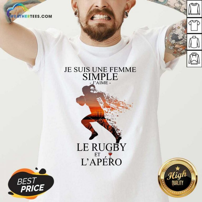 Je Suis Une Femme Simple Quote Le Rugby Sunset V-neck - Design By Weathertees.com