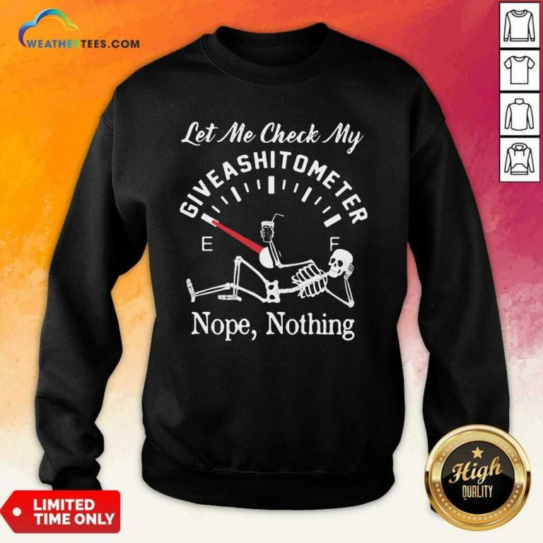 Let Me Check My Give A Shitometer Nope Nothing Skull Sweatshirt - Design By Weathertees.com
