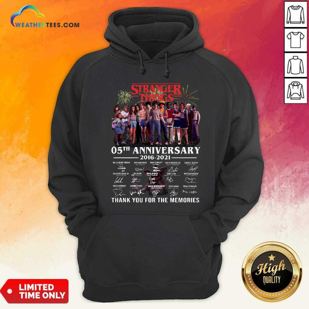 Stranger Things 05th Anniversary 2016 2021 Thank You For The Memories Signatures Hoodie - Design By Weathertees.com