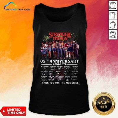 Stranger Things 05th Anniversary 2016 2021 Thank You For The Memories Signatures Tank Top - Design By Weathertees.com