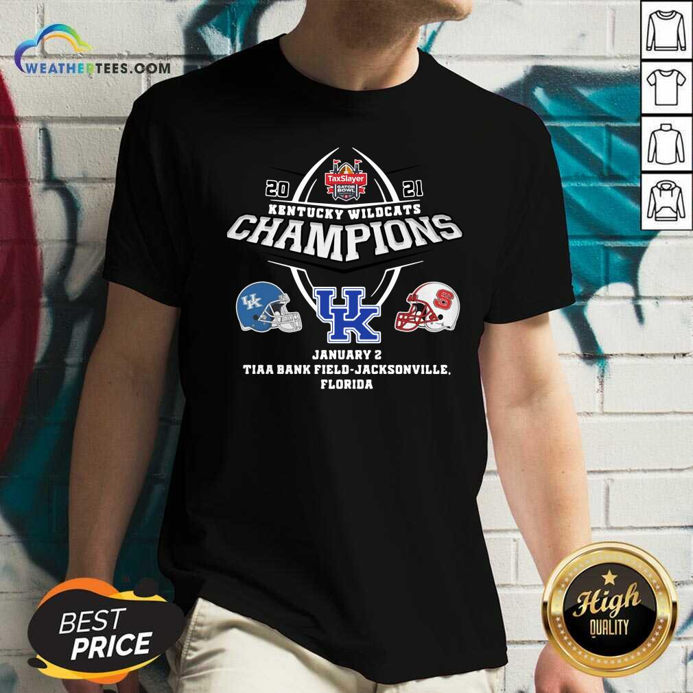 Kentucky Wildcats Champions January 2 Tiaa Bank Field Jacksonville Florida V-neck - Design By Weathertees.com