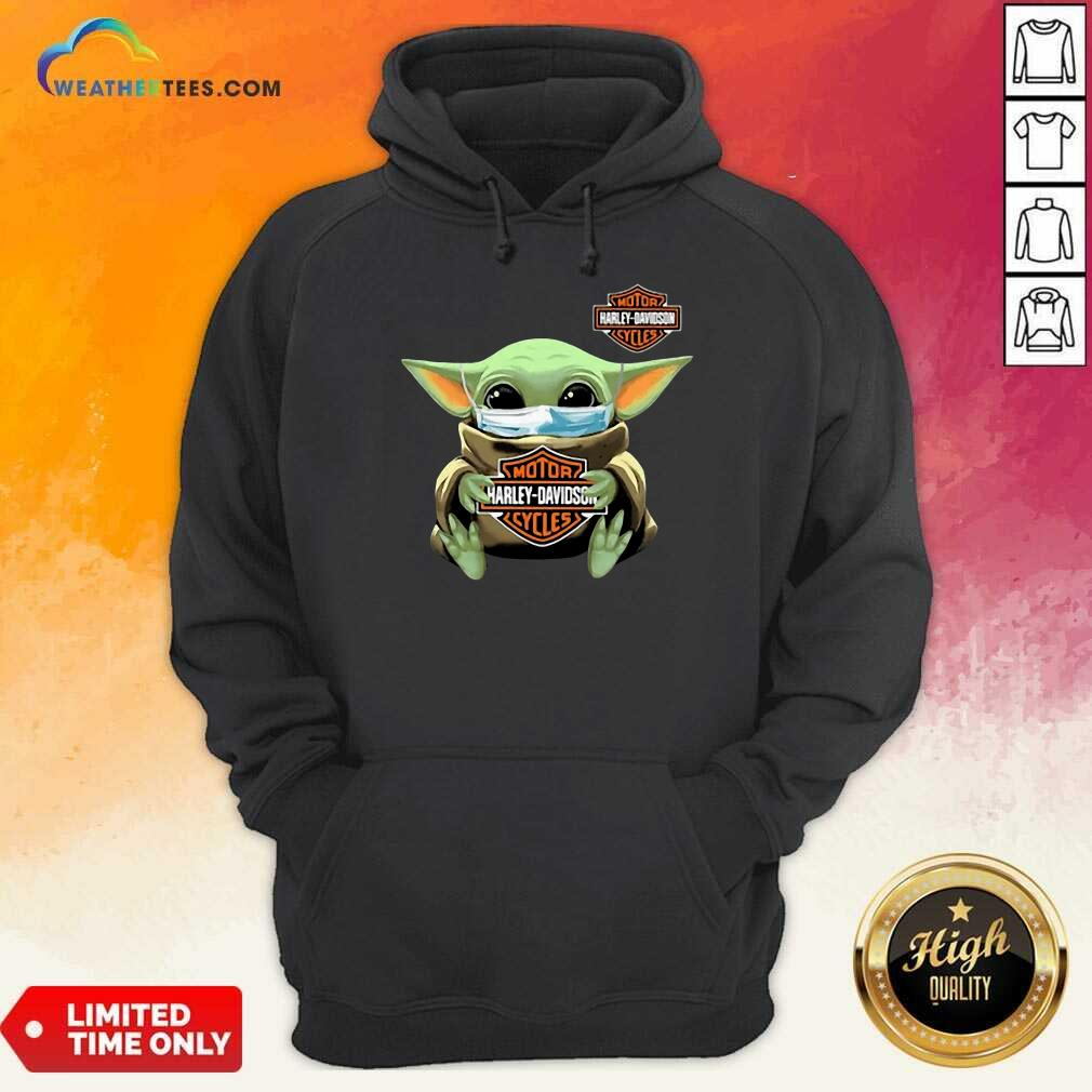 Funny Baby Yoda Mask Motor Harley Davidson Cycles Coronavirus Hoodie