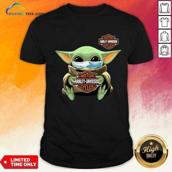 Funny Baby Yoda Mask Motor Harley Davidson Cycles Coronavirus Shirt