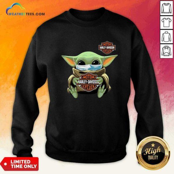 Funny Baby Yoda Mask Motor Harley Davidson Cycles Coronavirus Sweatshirt
