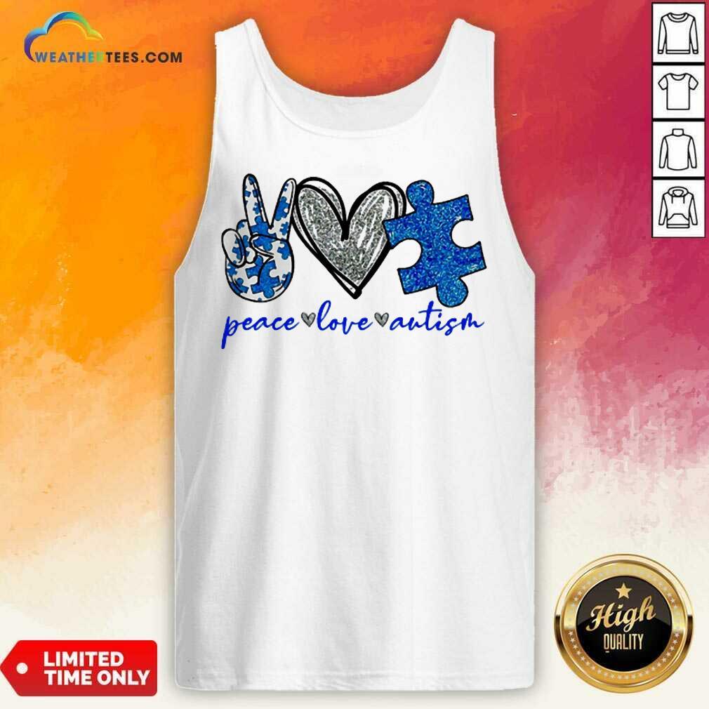 Great Diamond Peace Love Autism 5 Tank Top