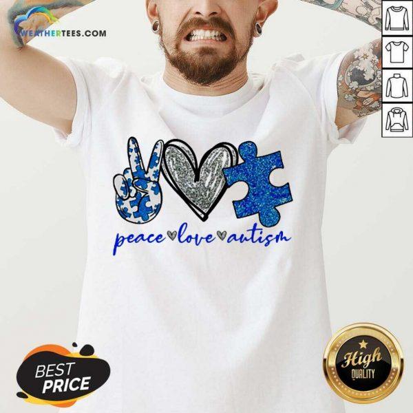 Great Diamond Peace Love Autism 5 V-neck