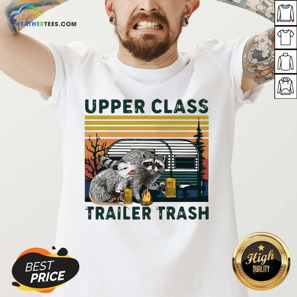 Official Raccoons And Opossums Upper Class Trailer Trash Vintage V-neck