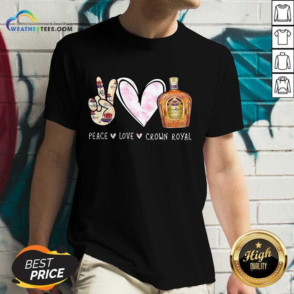 Official Peace Love Crown Royal Drinking Wine V-neck