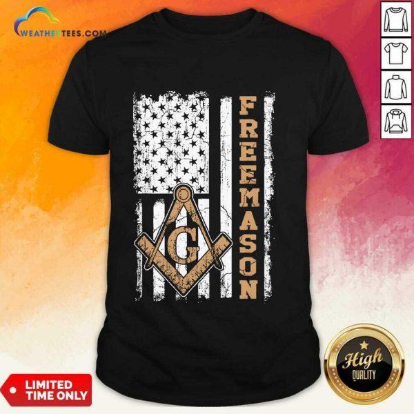 Top Freemason American Flag Shirt