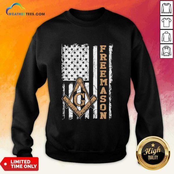 Top Freemason American Flag Sweatshirt