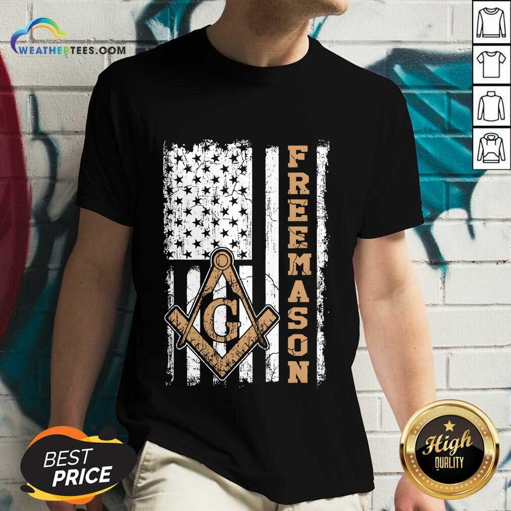 Top Freemason American Flag V-neck